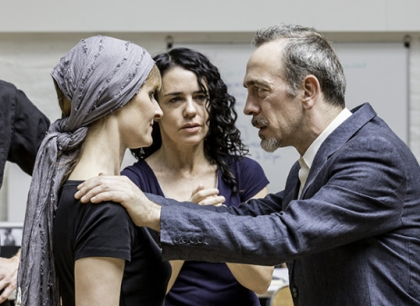 Rebecca Saire (Mrs Ann Putnam), Yael Farber (Director) and Adrian Schiller (Reverend John Hales). Photo Johan Persson